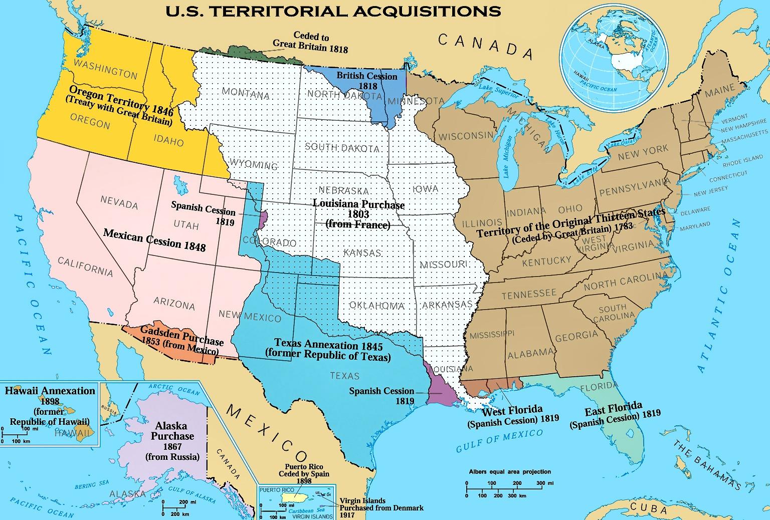 美国50州_美国各州州名州府_美国领土扩张史
