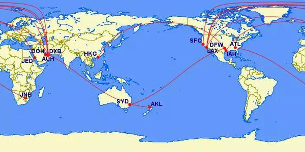 世界上最长的10条直飞航线