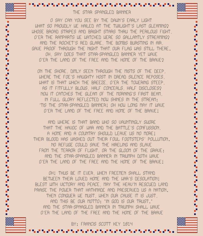 翻译美国国歌《星条旗》the